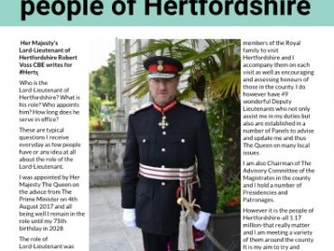 Lord Lieutenant writes for #HERTS June online Magazine