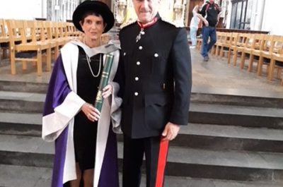 The Lord-Lieutenant congratulates Dame Helen Hyde DBE on receiving an honorary Doctorate from The University of Hertfordshire at the ceremony at St Albans Cathedral