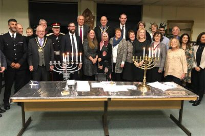 Lighting Chanukah Candles at Three Rivers / Northwood Synagogue